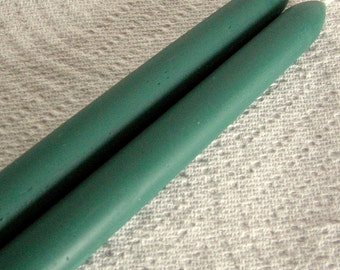 "Hand Crafted Pair Williamsburg Teal Green 12"" Taper Beeswax Candle"