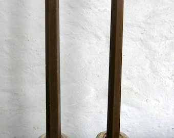 Pair Beeswax Hexagonal Brown Taper Candles Hand Crafted By The Beekeeper