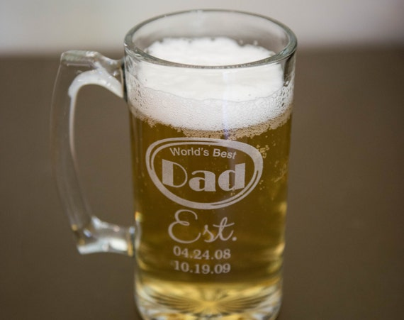 Custom Etched Beer Mug Father's Day World's Best Dad