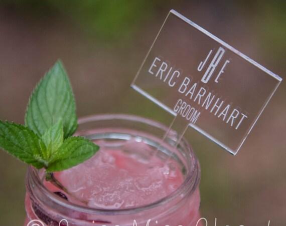 18 Drink Stirrers Escort Card Custom Etched Acrylic Stirrers, Laser Cut Wedding Decor Drink Stirrers Swizzle Sticks