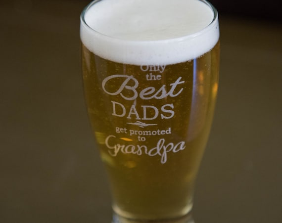 Custom Father's Day Etched Pilsner Beer Glass Pint Size Pilsner Grandpa Dad Daddy