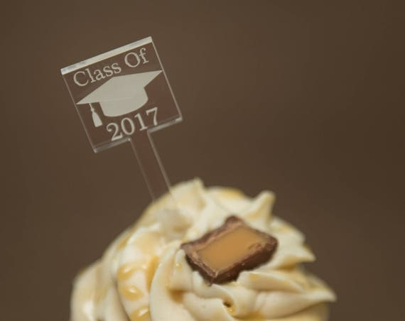 25 Graduation Cupcake Toppers Custom Etched Clear Acrylic, Laser Cut Decor Dessert Bar Class of 2017