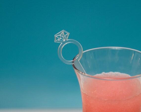 36 Engagement Party Drink Stirrers, Diamond Ring Personalized Wedding White Laser Cut Wedding Decor Drink Stirrers Swizzle Sticks