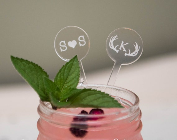 18 Custom Etched Acrylic Stirrers, Laser Cut Wedding Decor Drink Stirrers Swizzle Sticks