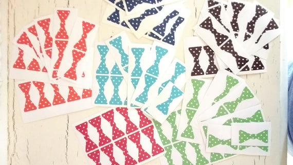 Sale 25 light blue only 2 inch Polka Dot Bow Tie Stickers, Envelope Seals, Party Favors, Party Glasses, Unlimited Possibilities