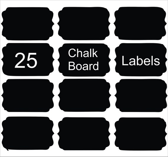25 Chalk Board Labels 2.25 in x 2in on adhesive vinyl