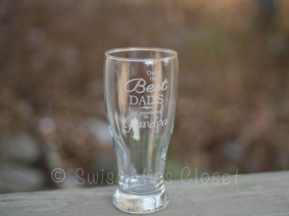 Custom Father's Day Etched Pilsner Beer Glass Pint Size Pilsner