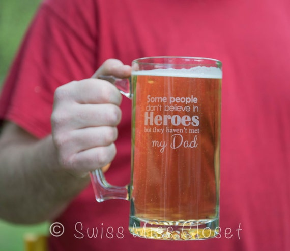 Custom Etched Beer Mug Father's Day Dad Hero Cute Quote