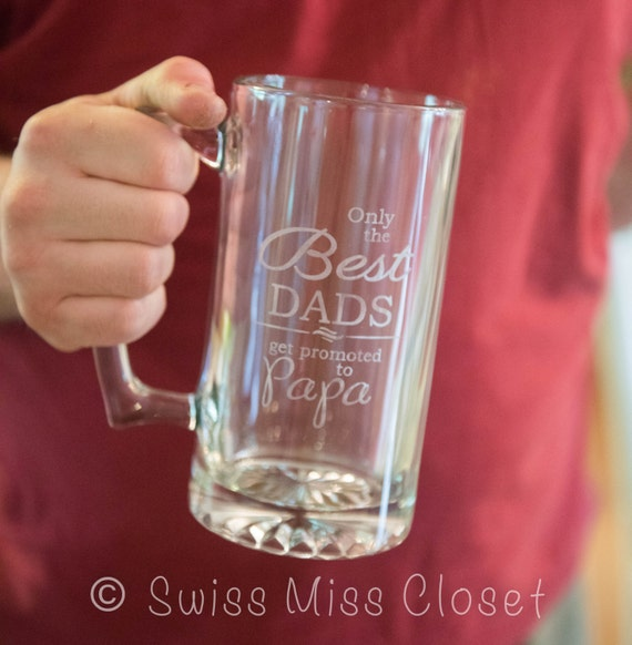Custom Etched Beer Mug Father's Day for Grandpa, Papa, Granddad