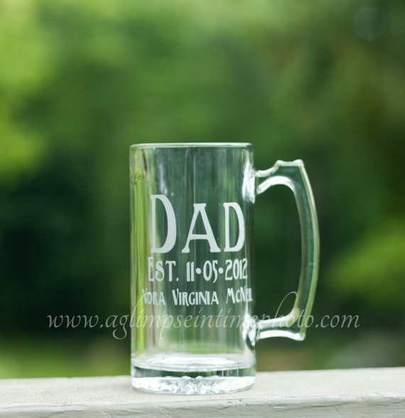 Custom Father's Day Etched Beer Mug