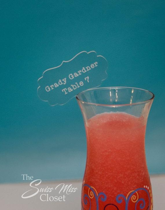 Custom Drink Stirrer Escort Card Etched Acrylic Stirrers, Laser Cut Wedding Decor Drink Stirrers Swizzle Sticks