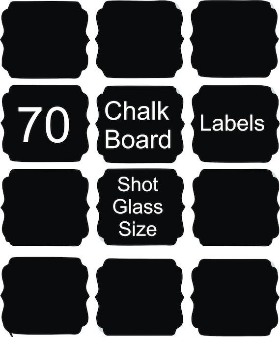 70 Chalk Board Labels 1.5 x 1.5 approximately  on adhesive vinyl
