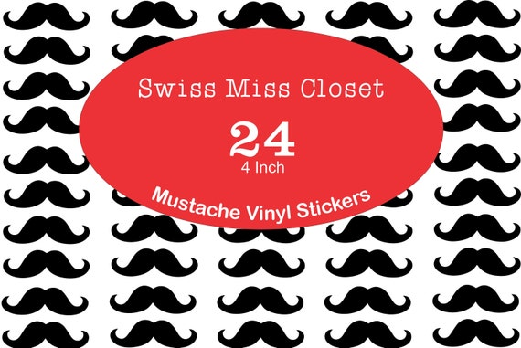24 4inch Mustache Stickers Party Favors, Party Glasses, laptop decor, Unlimited Possiblities