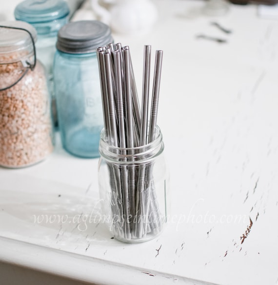 Set of 10 Wide Eco Friendly Stainless Steel Straws DIY Weddings, Parties, Everyday Use