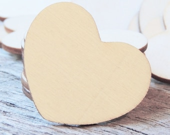 Wooden Brown Heart-Shape Embellishments Painting Craft Blank Wedding Decoration