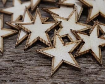 "Crafting Supplies 300 pcs Laser cut wooden stars 3//4/"" x 3//4/"" wood stars 3//4 inch"