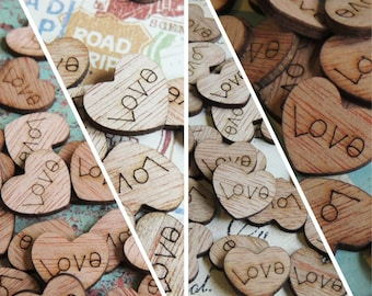 Wood Heart Cutout With Holes Set of 50 Mini Wooden Hearts With Holes Mini Heart Tags Small Wooden Hearts 1 Inch Heart