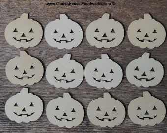 25 qty 2 inch Wood Pumpkins Jack-o'-lanterns Halloween wooden craft shapes embellishments jackolanterns Fall crafts