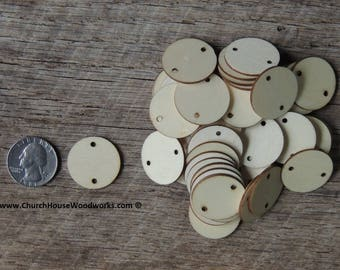 1 inch wooden 2 HOLE TAG craft circles, DIY craft supplies one inch wood circles, wood coins, wood disk, rounds, cookies, with hole