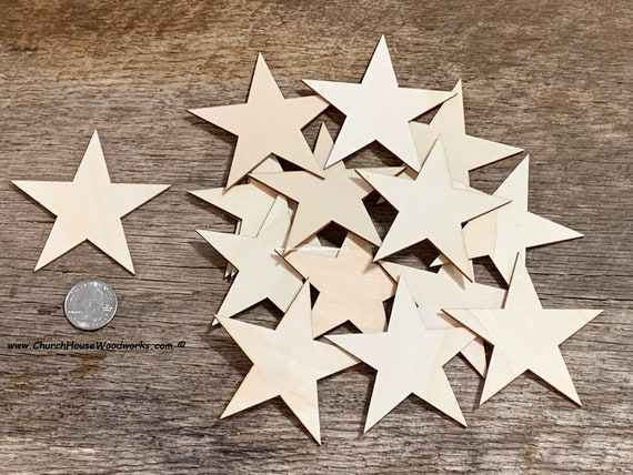 Blank Wood Pieces Wooden Cutouts Ornaments for Craft Project and Decoration 1 Inch 300 Pieces Wooden Star Shape Unfinished Wood Pieces