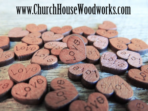 100 MINI Love Wood Hearts, Wood Confetti Engraved Love Hearts- Rustic Wedding Decor- Table Decorations- Tiny Wooden Hearts
