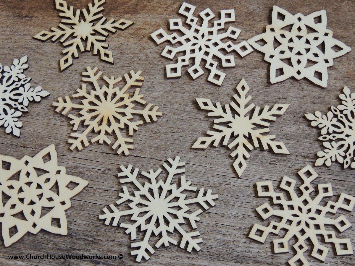 Wooden Christmas Crafts.3 Inch Snowflake Wood Christmas Ornaments 10 Pack Style Mix Diy Wooden Christmas Crafts Ornament Making Supplies