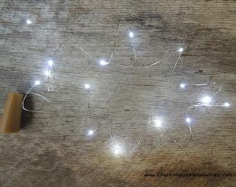LED Wine Bottle Cork Lights, Battery Operated Fairy Lights, Rustic Wedding Decor, Room Decor, 6.6 ft, Cool White Silver Strand String Lights