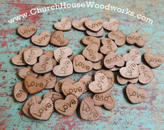 100 Love Wood Hearts, Wood Confetti Engraved Love Hearts- Rustic Wedding Decor- Table Decorations- Tiny Wooden Hearts