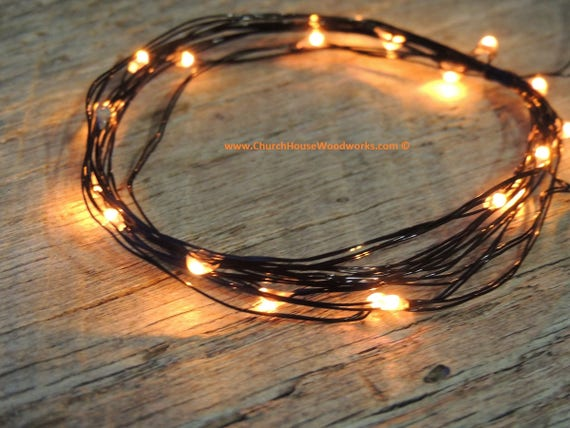 free shipping 156a5 54464 LED Battery Operated Fairy Lights, Rustic Wedding Decor, Room Decor, 6.6  ft, Orange LED Black Wire Halloween costume lights