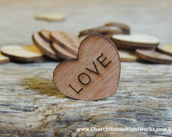 """100 Love 1"""" Wood Hearts, Wood Confetti Engraved Love Hearts- Rustic Wedding Decor- Table Decorations- Small Wooden Hearts"""