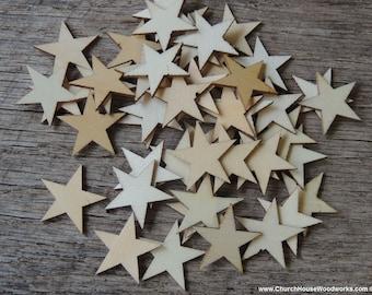 50 Small Laser Cut Wood Stars,  Wooden Stars-  DIY Craft Supplies Flag Making