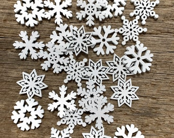 25 SMALL Snowflake WHITE Wood Christmas Ornament Supplies DIY Wooden Christmas Crafts To Paint On- 1 Inch Snowflakes
