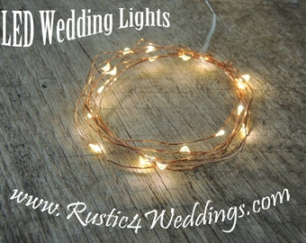 LED Battery Operated Fairy Lights, Rustic Wedding Decor, Room Decor, 6.6 ft, Copper Strand LED String Lights