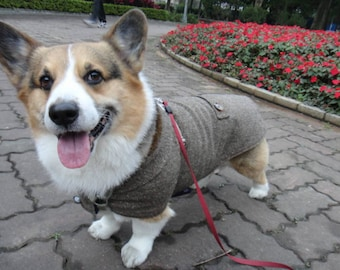 16b8f2edf1823 Corgi tweed coat Large Welsh Corgi dark brown herringbone winter coat with  collar   fleece lining (LB-ML-CG)