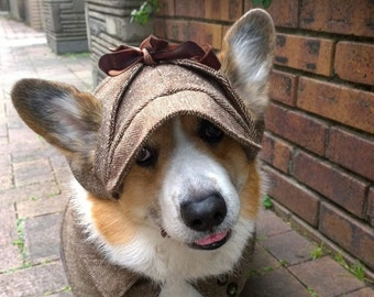 a5291ae8c9258 Corgi Dog deerstalker hat with ear holes Herringbone tweed deerstalker  Winter hat Sherlock Holmes hat for Corgi or dog of similar head size