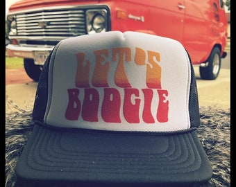 e591bdfd32263 Let s Boogie solid black adjustable size trucker hat van old style vintage  retro psychedelic custom porthole wheel tradesman g10 econoline