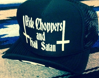 7988cfb4b0076 Ride Choppers hail Satan black adjustable mesh trucker hat cap one size  fits all harley 70 s occult motorcycle upside down cross pagan biker