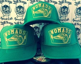 c053c81869b2cd Nomads winged wheel green trucker mesh summer party drinking cap hat biker  harley camping chopper flash tattoo art retro vintage country