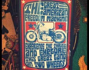 a2bd4f26debf7 The Great American Freedom Machine framed retro vintage framed Harley  Davidson motorcycle print poster chopper panhead shovelhead ironhead