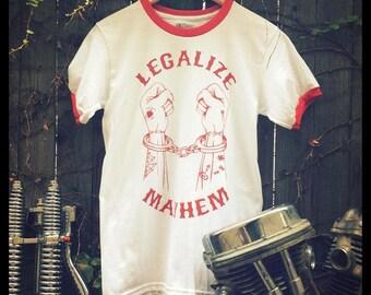 9909073b4 Legalize Mayhem white & red ringer style retro tee shirt biker 1970's outlaw  1%er vintage panhead ironhead chopper 3d emblem easyriders hd1