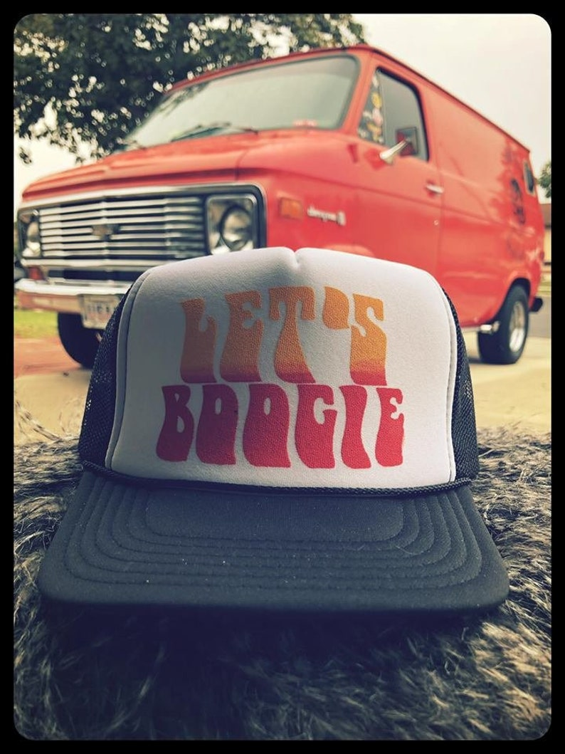Let's Boogie solid black adjustable size trucker hat van old style vintage  retro psychedelic custom porthole wheel tradesman g10 econoline
