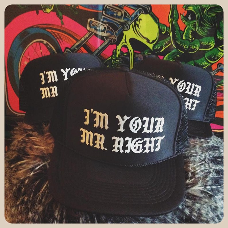 1f40c75c655 I m your mr. right black snapback adjustable trucker hat