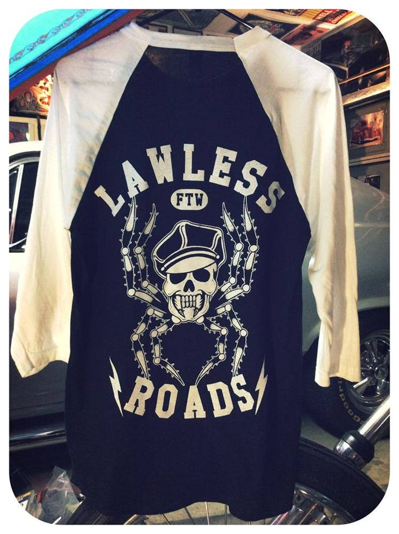 34999ce3 LAWLESS ROADS Harley cap spider skull baseball 3/4 sleeve | Etsy