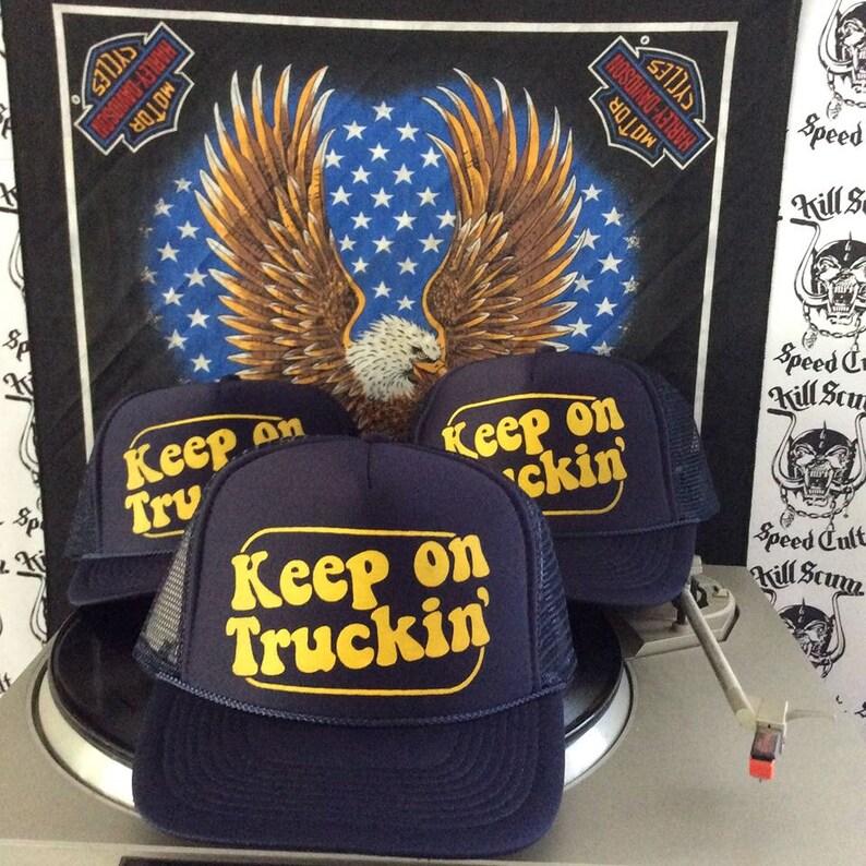6f72eb22cff KEEP ON TRUCKIN  navy blue trucker hats van vannin