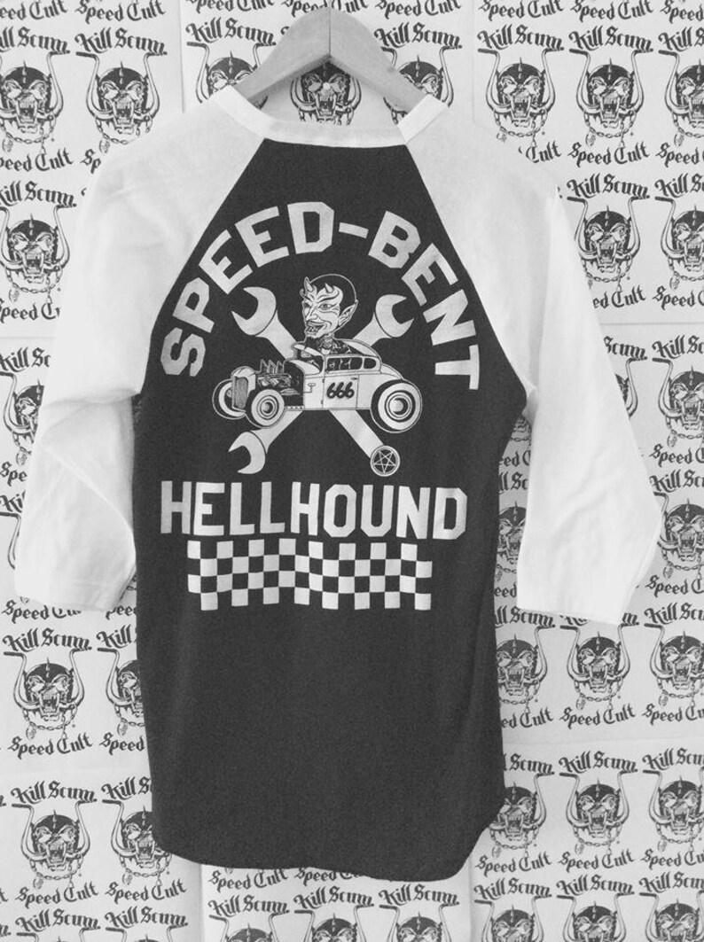 62f280388 Speed Bent Hellhound track baseball 3/4 sleeve shirt white | Etsy