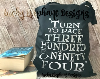 Harry Potter Turn to Page 394 Bag - Turn to Page 394 Bag - Turn to Page Three Hundred and Ninety Four - Harry Potter Tote - Harry Potter Bag