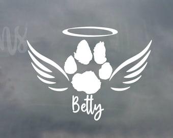 Rainbow Bridge Decal Cat Memorial Decal Cat Paw Angel Wings Decal Cat Angel Car Decal