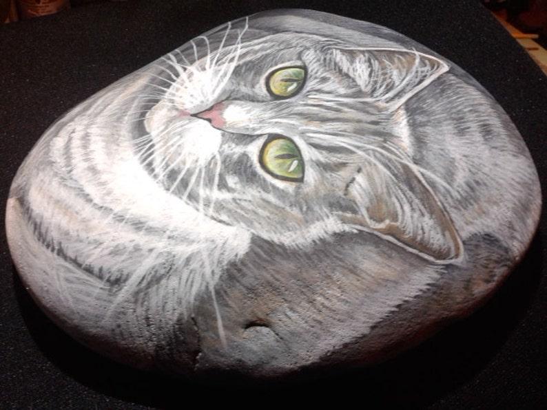 Cat paintingCustom Pet PortraitsPet Sympathy giftsHand Painted StonesPet Memorial StonesHome decor Paper weights  Pet Memorial on Etsy