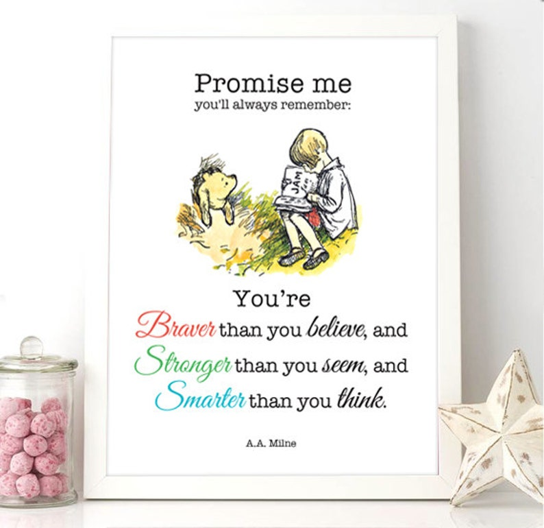 Printable Winnie The Pooh Quote Braver Than You Believe Etsy