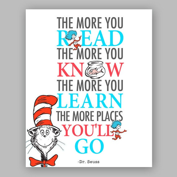 photo regarding Dr Seuss Printable Hat called Printable Dr Seuss Estimate - Cat inside the hat Nursery Quotation - The much more that oneself go through, the even more oneself understand
